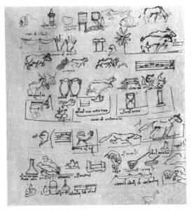 Menù disegnato da Leonardo